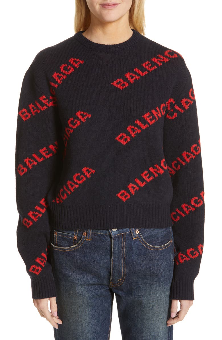 BALENCIAGA Logo Jacquard Wool Blend Crop Sweater, Main, color, 400