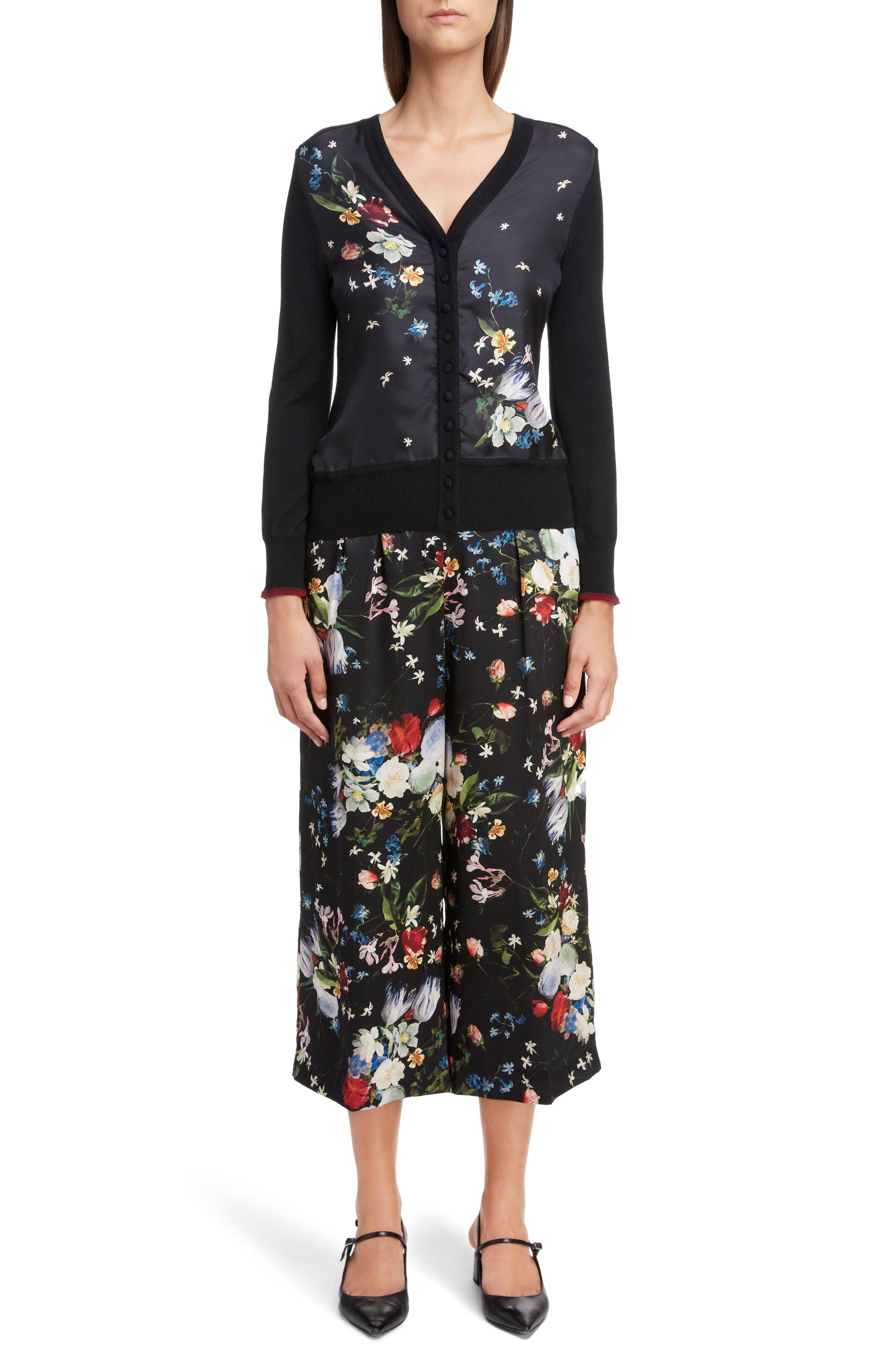 ,                             Floral Silk Satin Pleated Pants,                             Alternate thumbnail 6, color,                             BLACK/ MULTI