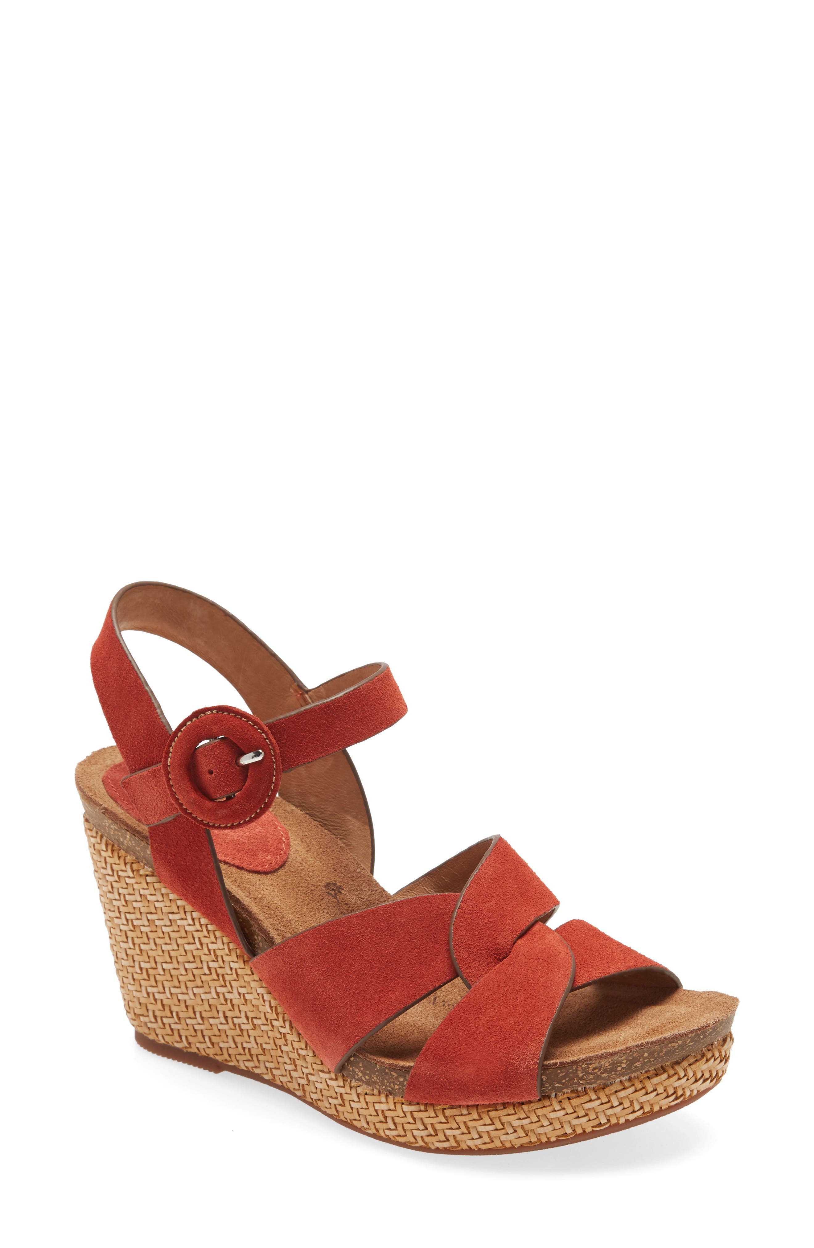 Smartly interlocking straps cinch the sophisticated charm of a textural wedge sandal anchored by a slender ankle strap. Style Name: Sofft Casidy Wedge Sandal (Women). Style Number: 5976747 1. Available in stores.