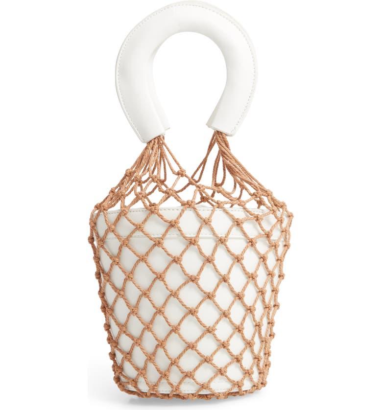 KNOTTY Net Faux Leather Bucket Bag, Main, color, 100