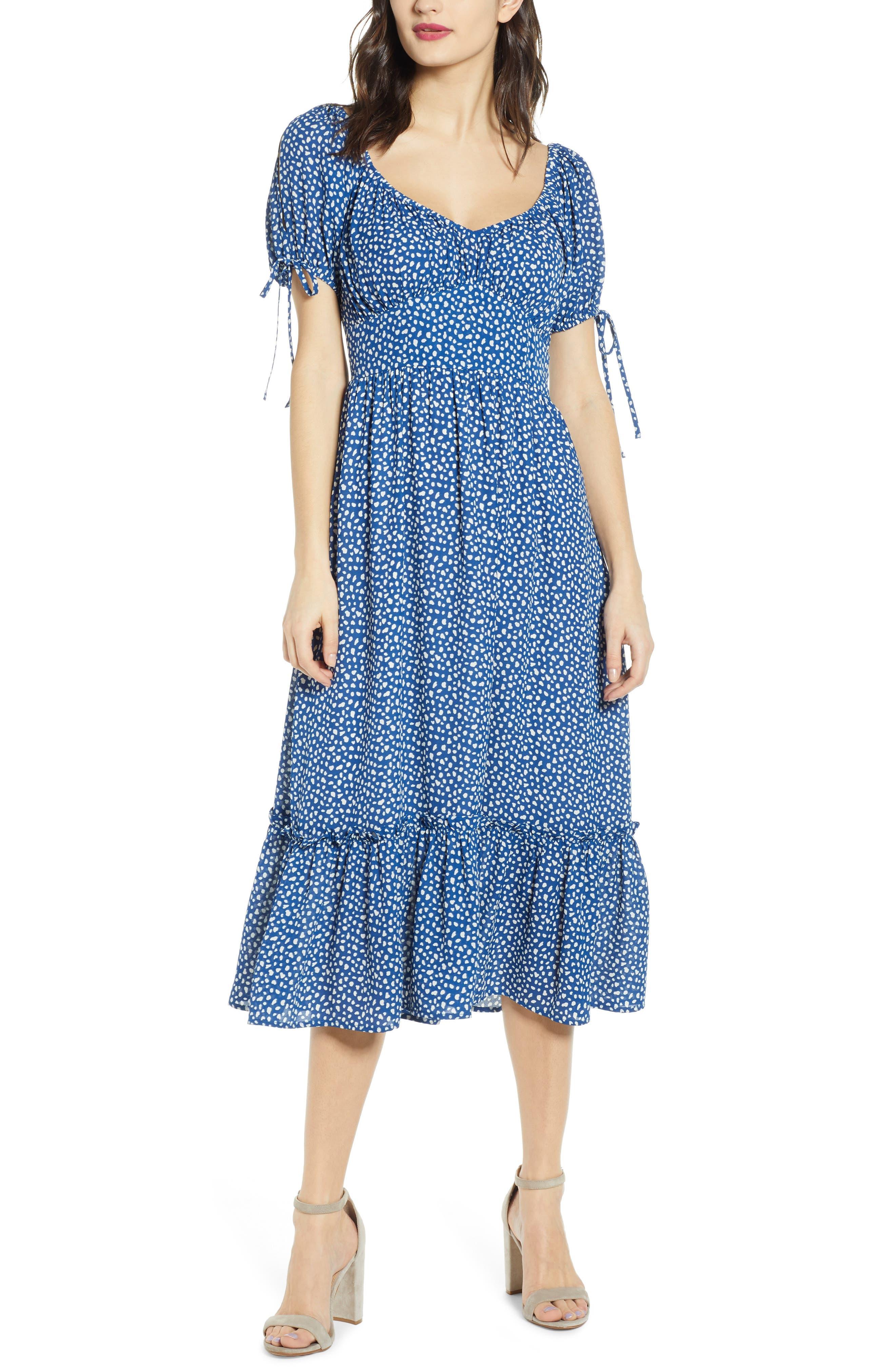 Moon River Tie Sleeve Ruffle Midi Dress, Blue