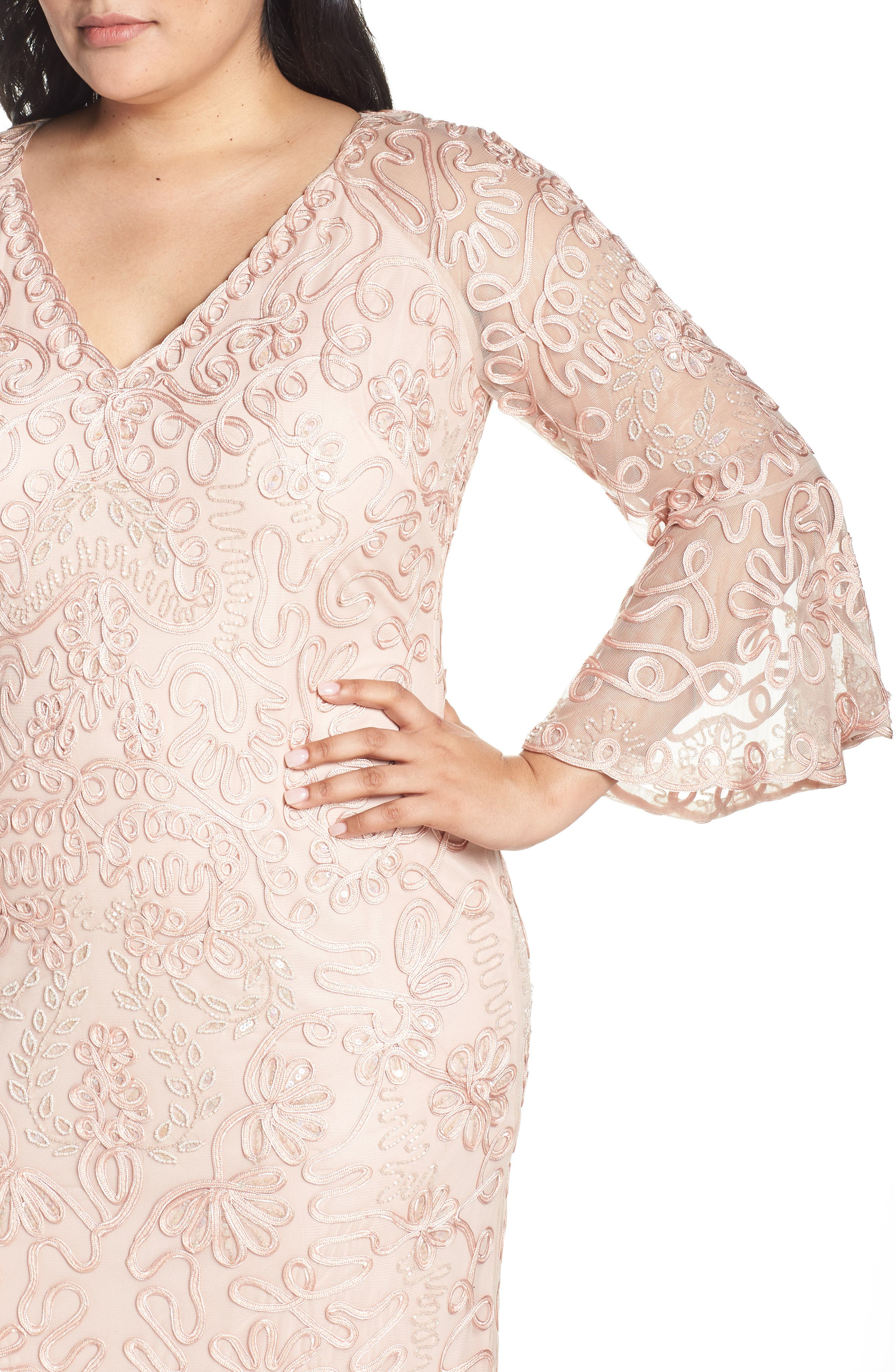 ,                             Bell Sleeve Mesh Shift Dress,                             Alternate thumbnail 5, color,                             PINK TAUPE