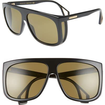 Gucci 62Mm Oversize Flat Top Sunglasses - Shny Blk Mazzu/grn Solid
