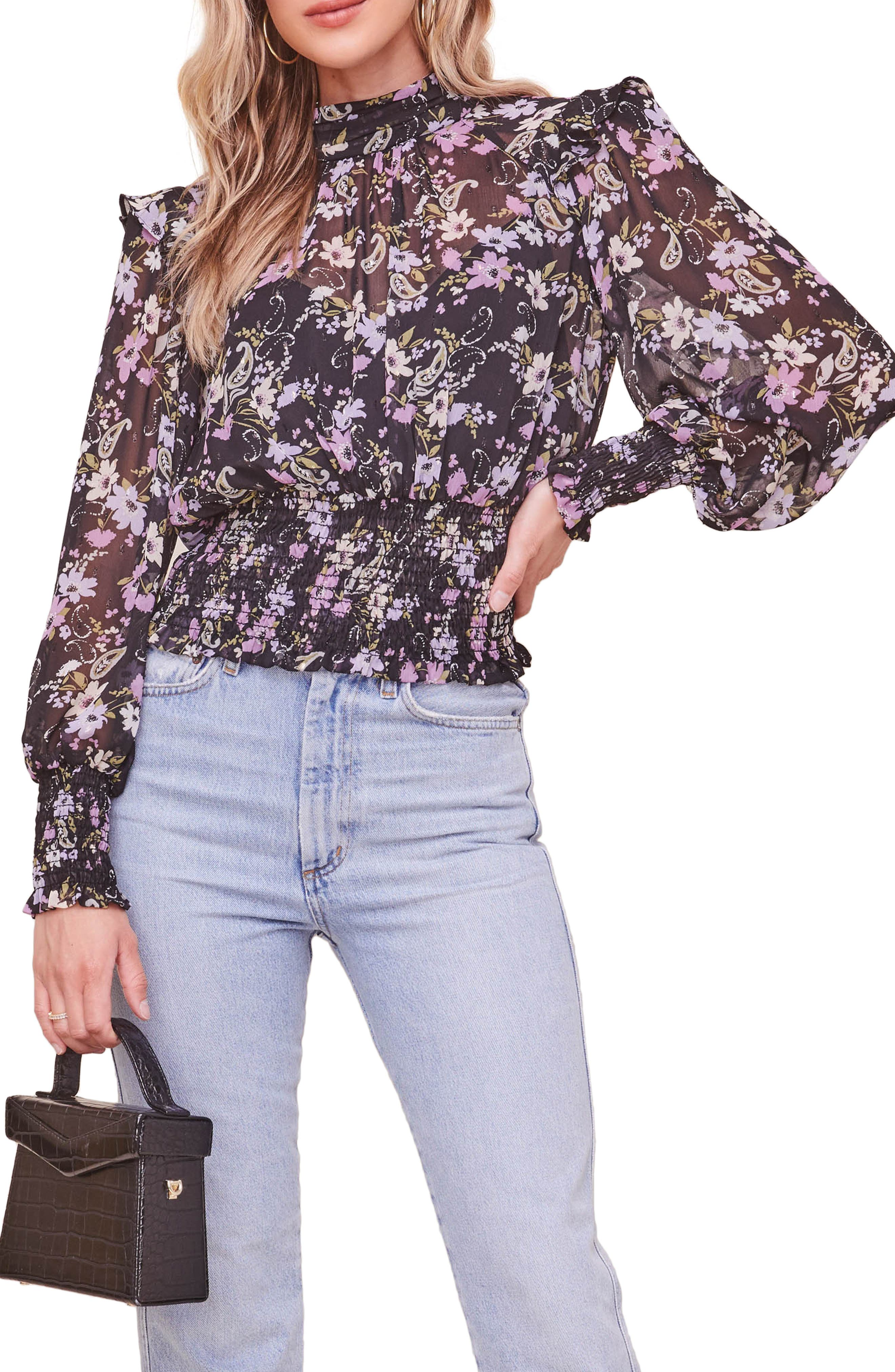Everyly Floral Mock Neck Top