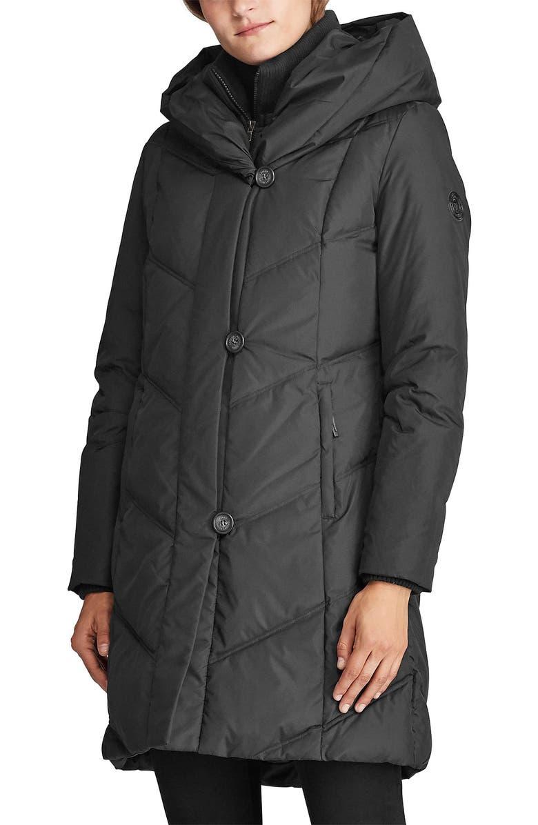 LAUREN RALPH LAUREN Pillow Collar Down Coat, Main, color, BLACK