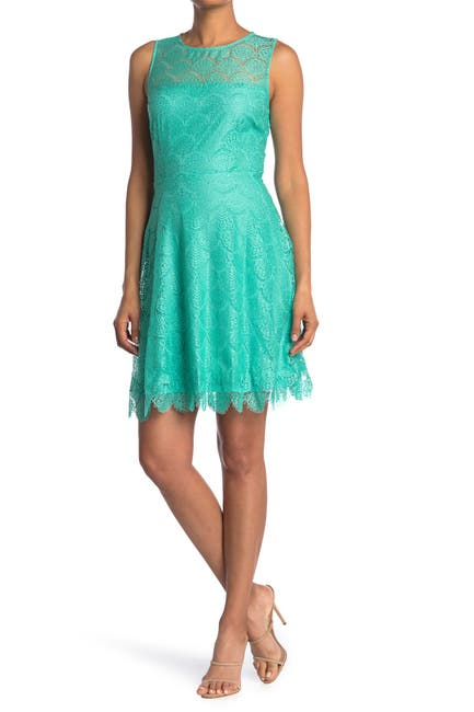 Image of Kensie Lace Keyhole Fit & Flare Dress