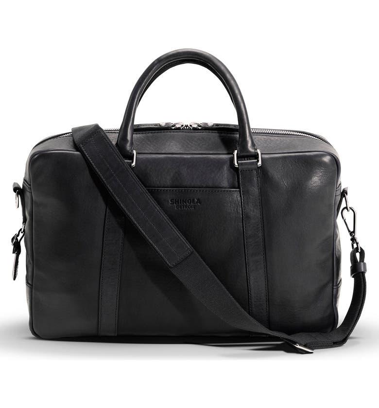SHINOLA Signature Leather Slim Briefcase, Main, color, BLACK