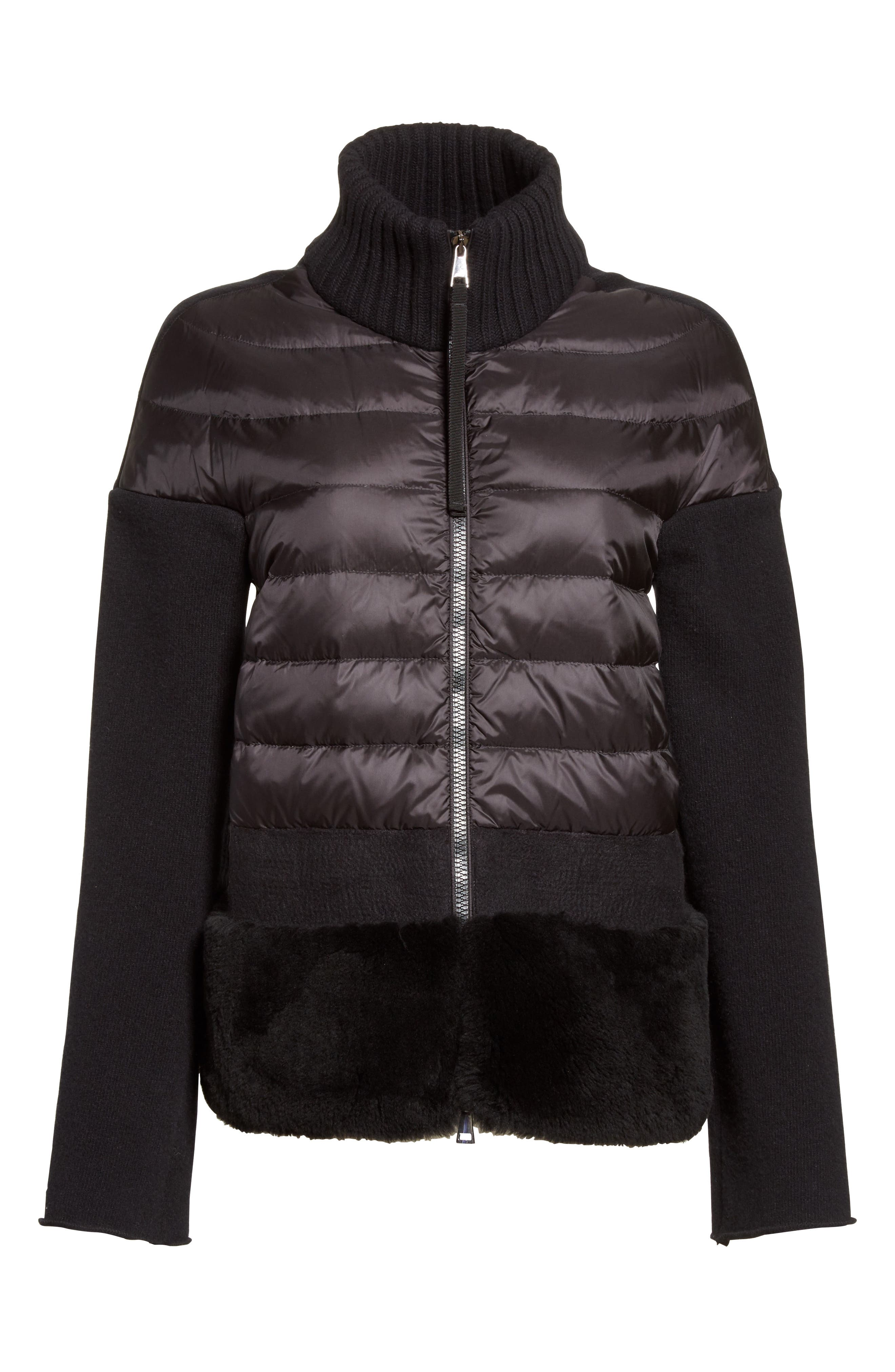 ,                             Genuine Shearling Trim Quilted Cardigan,                             Alternate thumbnail 6, color,                             001