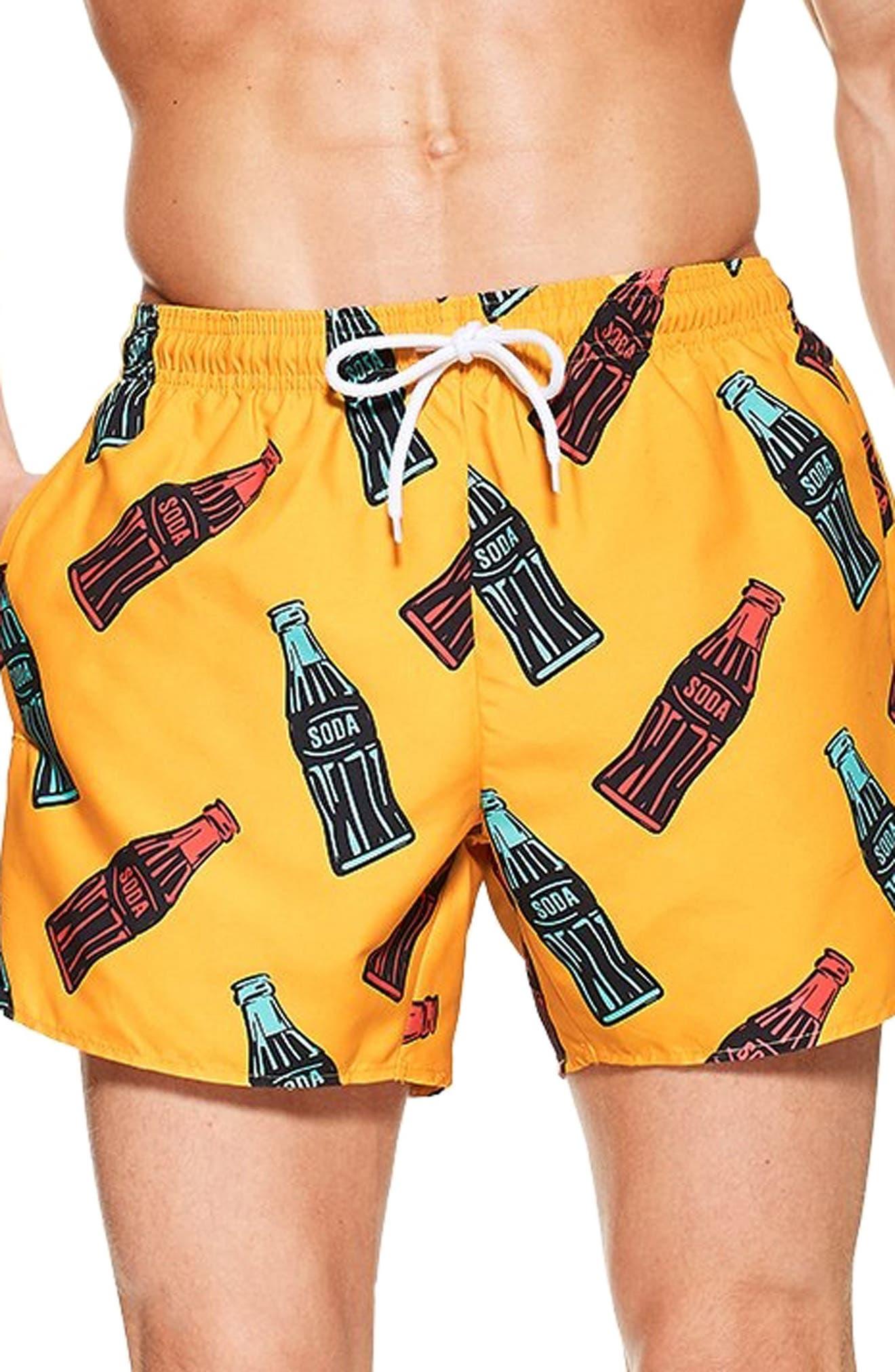 Topman Soda Bottle Swim Shorts, Orange
