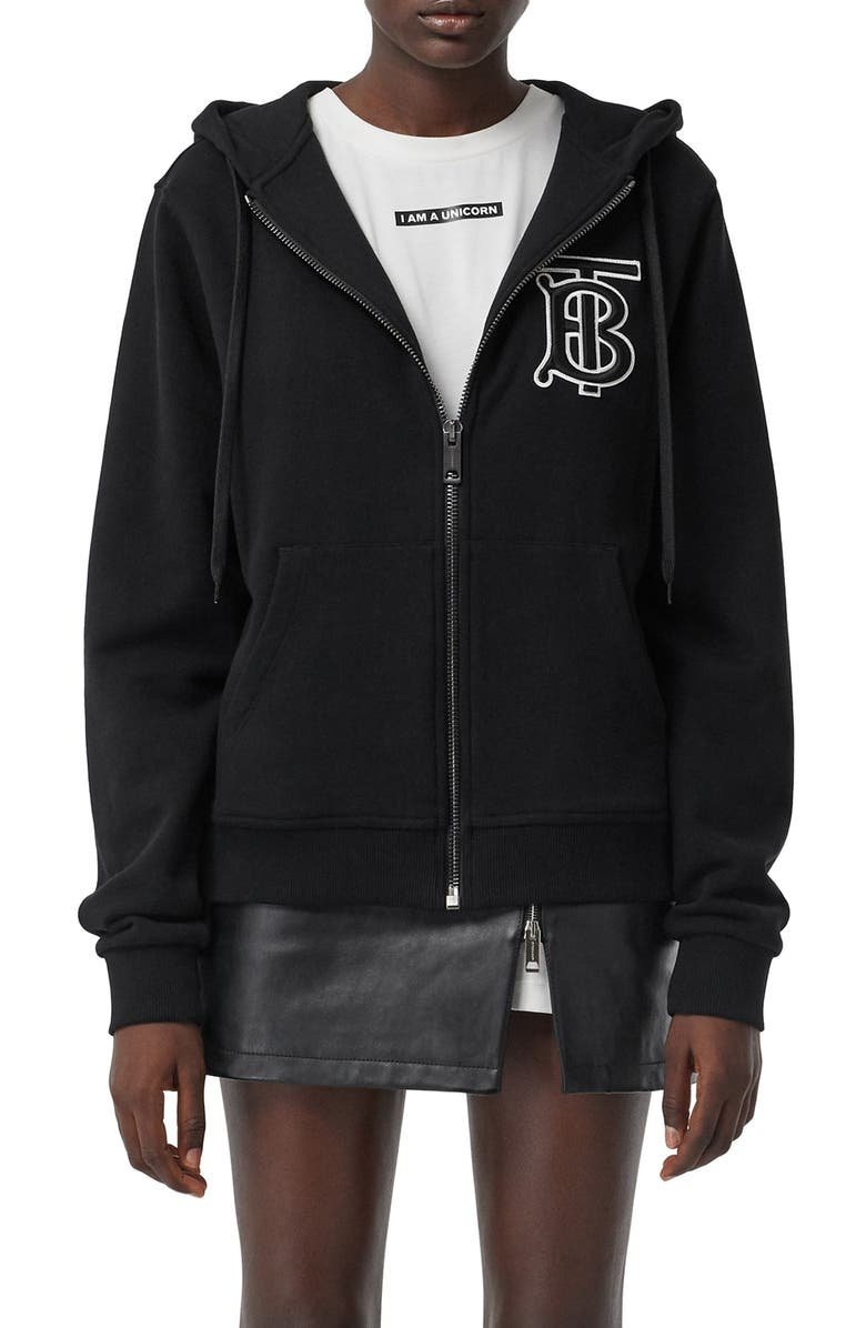 BURBERRY Aubree Monogram Motif Hoodie, Main, color, BLACK
