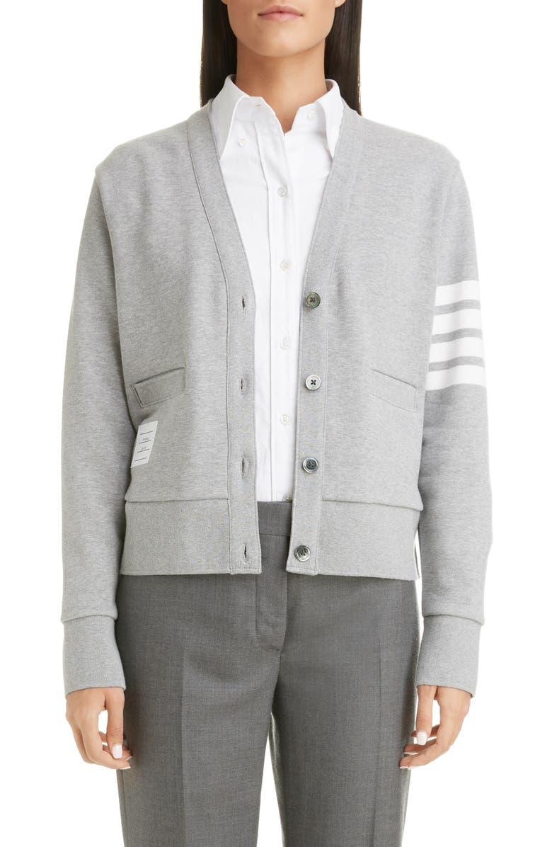 THOM BROWNE 4-Bar Cotton Cardigan, Main, color, LIGHT GREY