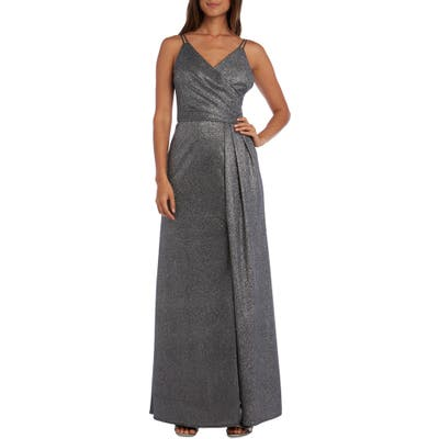 Morgan & Co. Surplice Metallic Evening Gown, Metallic