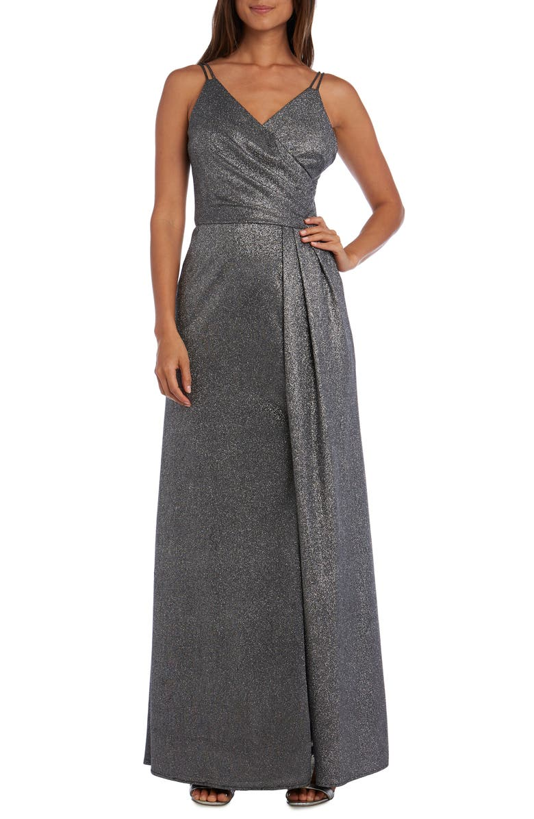 Morgan Co Surplice Metallic Evening Gown