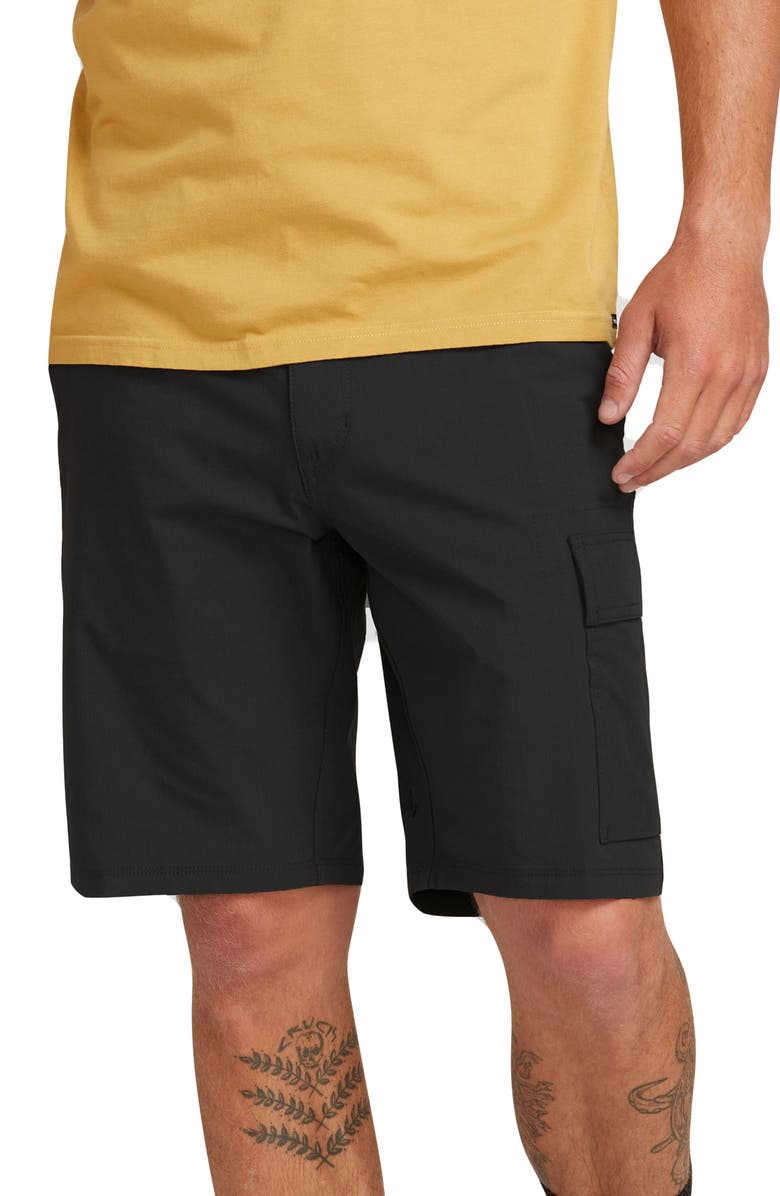 VOLCOM Surf N' Turf Yutes Hybrid Cargo Shorts, Main, color, 001