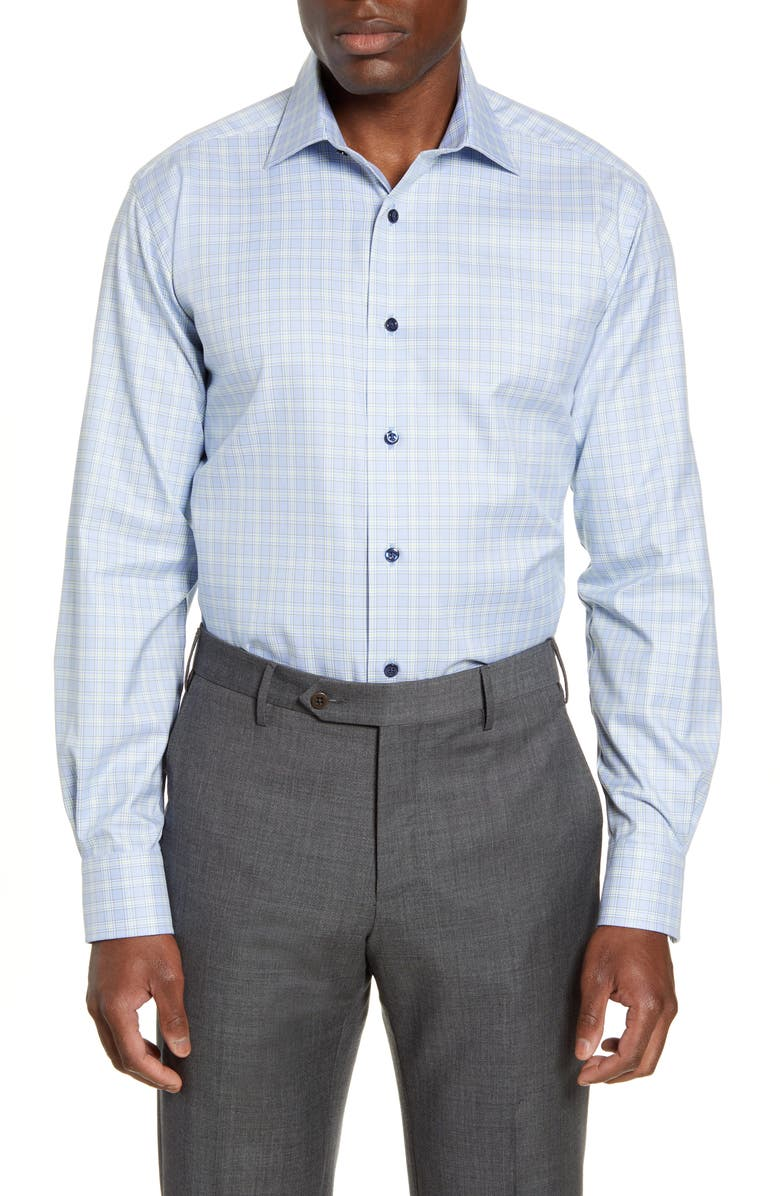 DAVID DONAHUE Regular Fit Plaid Dress Shirt, Main, color, SKY/ GRASS