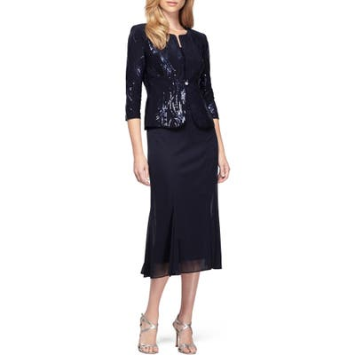 Alex Evenings Sequin Midi Dress With Jacket, Blue
