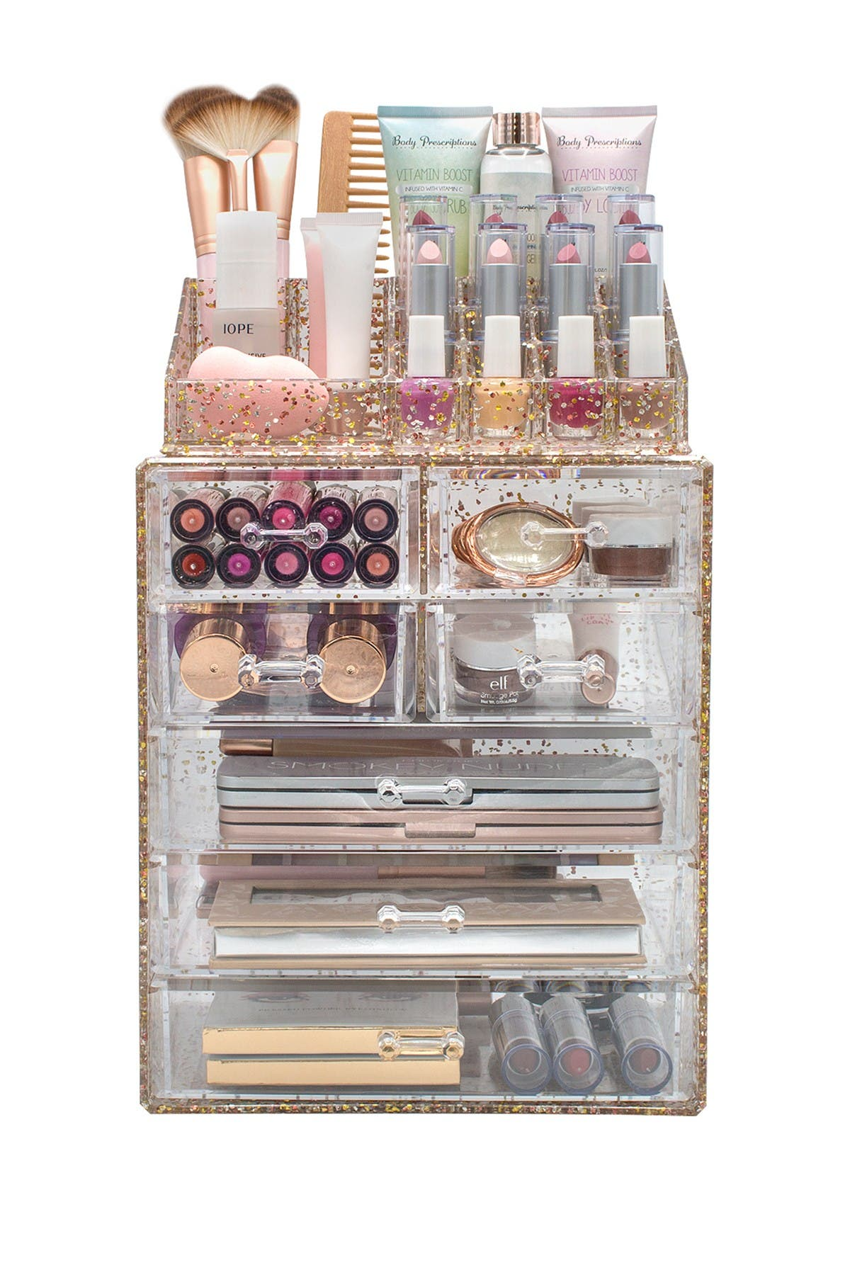 Image of Sorbus Glitter Makeup & Jewelry Storage Case Display Set