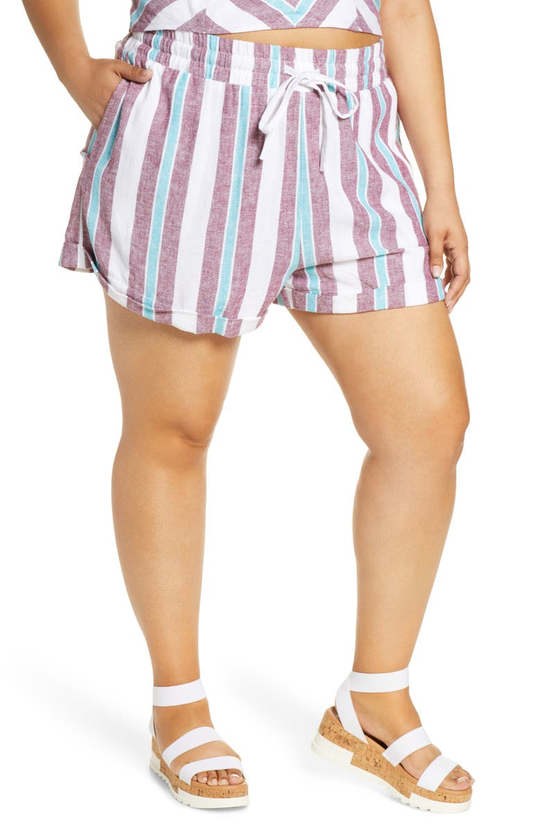 BP. Stripe Cuff Shorts, Main, color, 601
