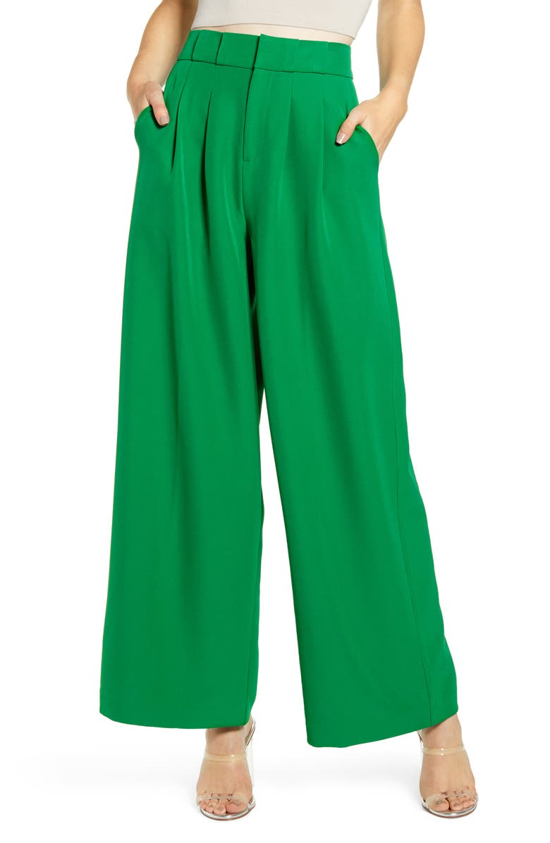ENGLISH FACTORY Wide Leg Trousers, Main, color, 300