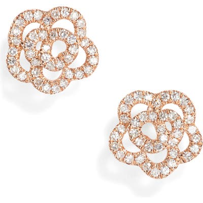 Ef Collection Rose Diamond Stud Earrings