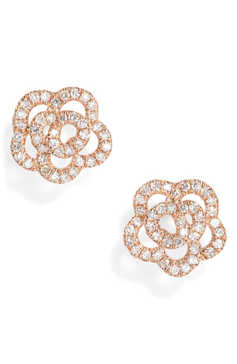 EF COLLECTION Rose Diamond Stud Earrings, Main, color, ROSE GOLD