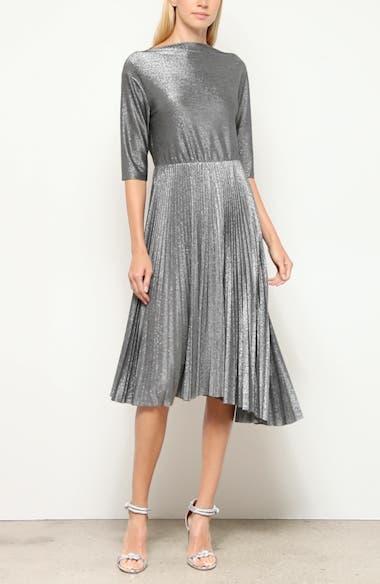 Pleated Metallic Midi Dress, video thumbnail