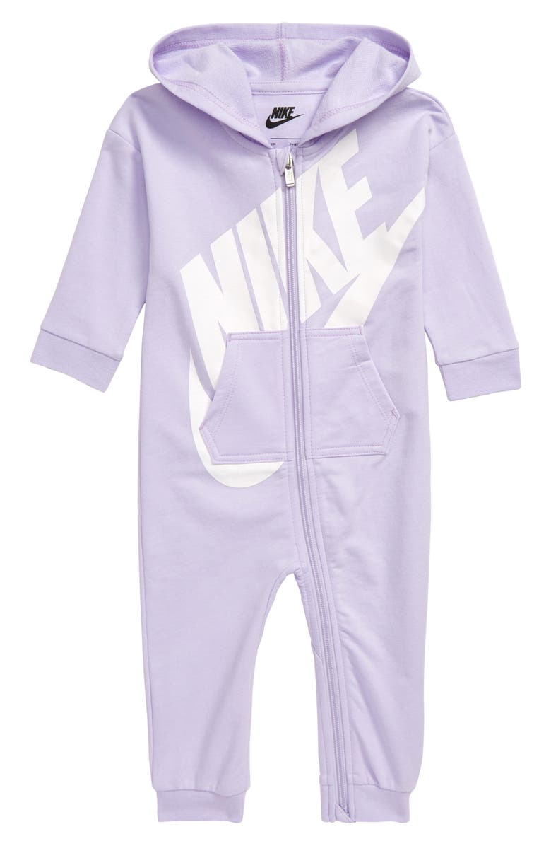 NIKE French Terry Hooded Romper, Main, color, PLUM