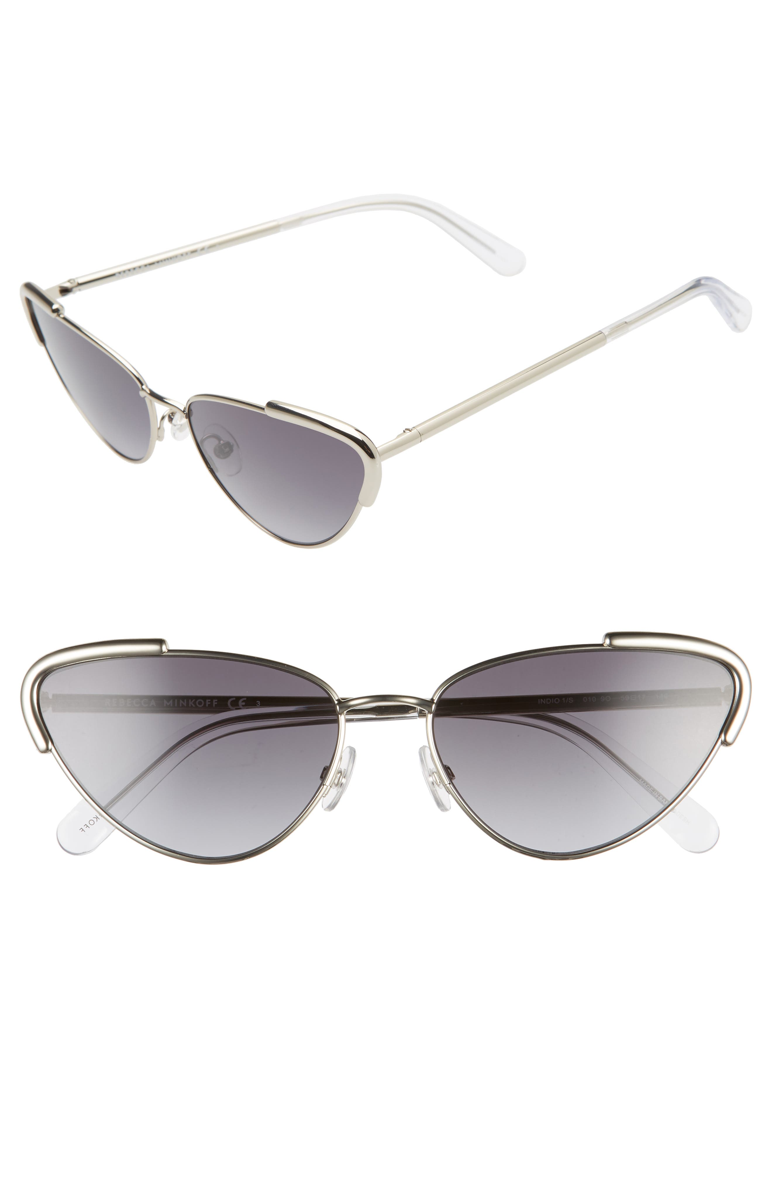 Tubular accents at the tipped-up corners bring contemporary appeal to chic cat-eye sunnies that offer full sun protection. Style Name: Rebecca Minkoff Indio1 59mm Cat Eye Sunglasses. Style Number: 5985308. Available in stores.