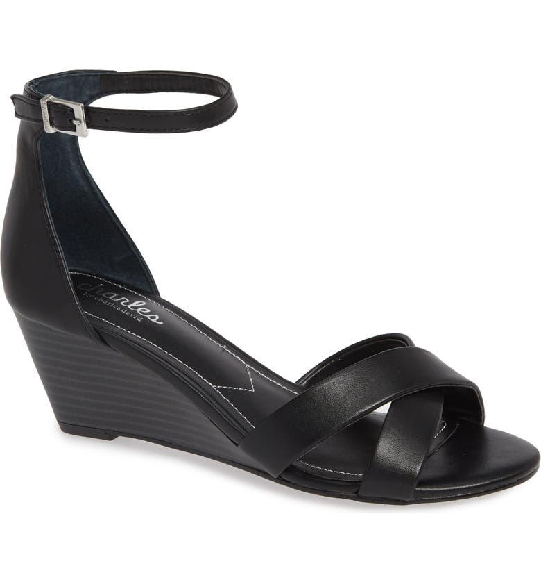 CHARLES BY CHARLES DAVID Griffin Ankle Strap Wedge, Main, color, 001