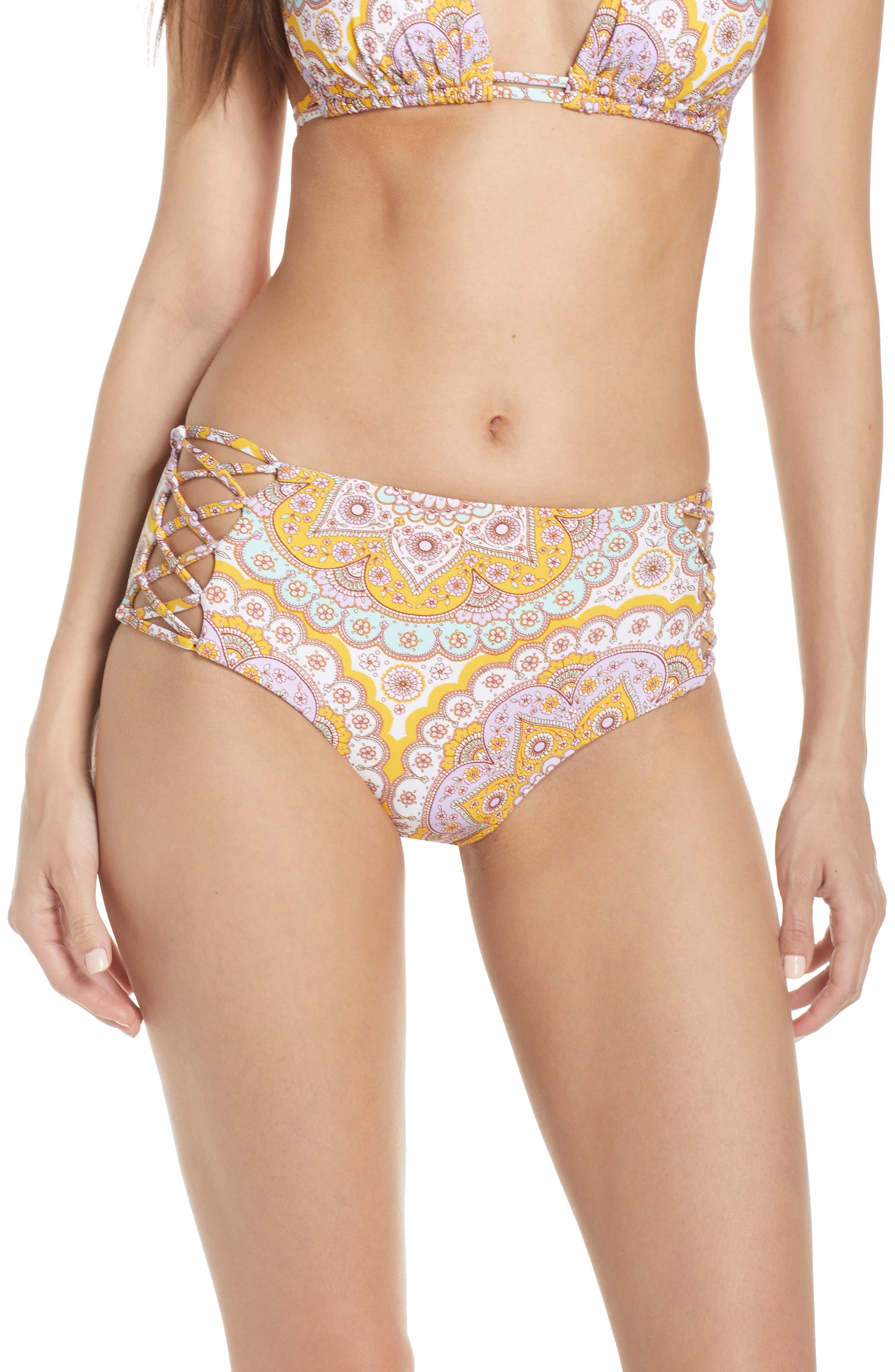 Luli Fama Alhambra Lace-Up High Rise Bikini Bottoms, Purple
