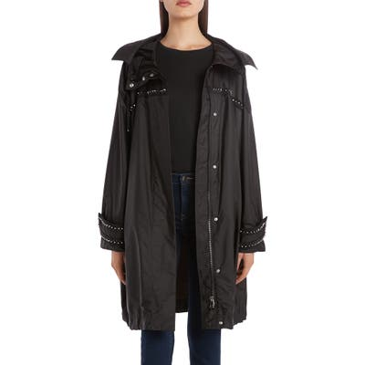 Moncler Prasin Studded Water Resistant Longline Coat, (fits like 4-6 US) - Black