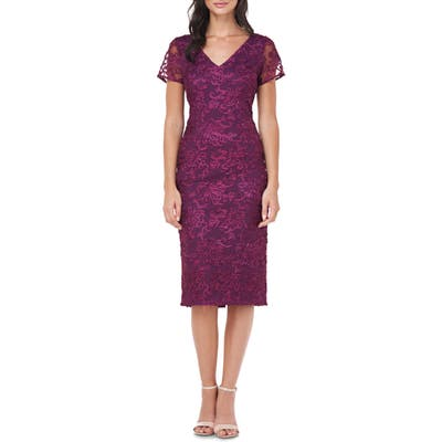 Js Collections Soutache Embroidered V-Neck Cocktail Dress, Purple