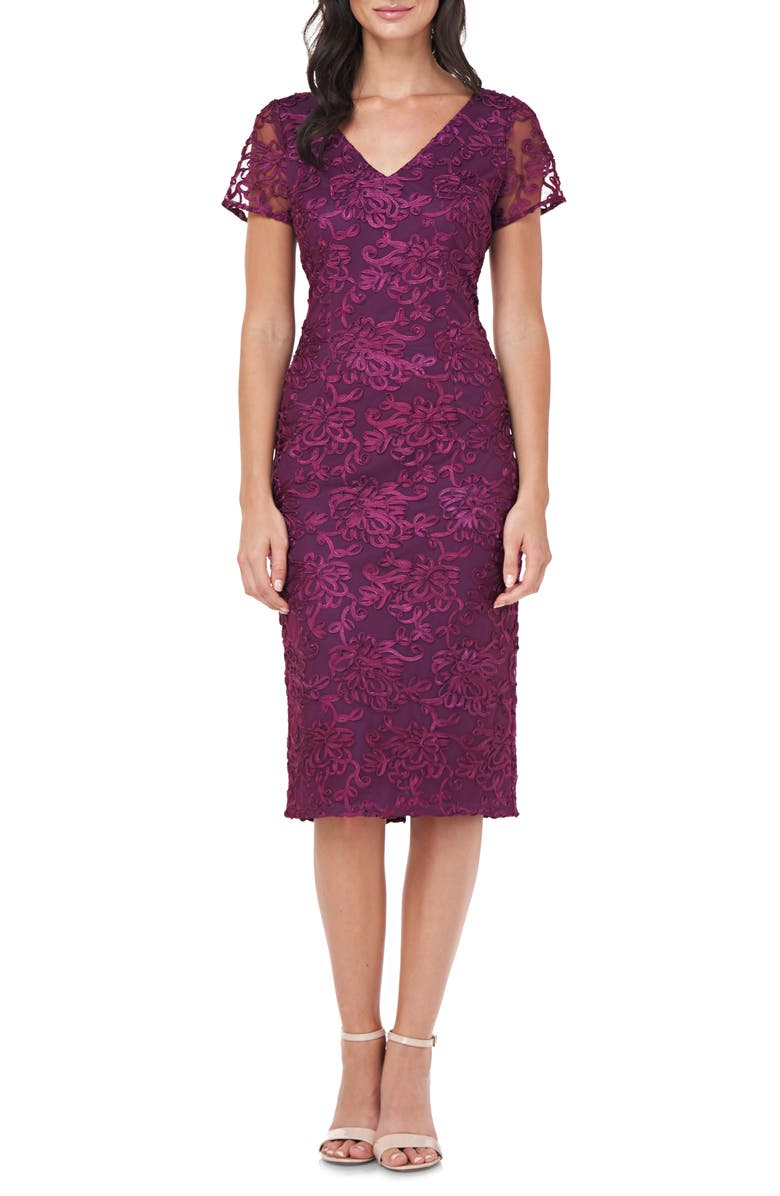 JS COLLECTIONS Soutache Embroidered V-Neck Cocktail Dress, Main, color, PLUM