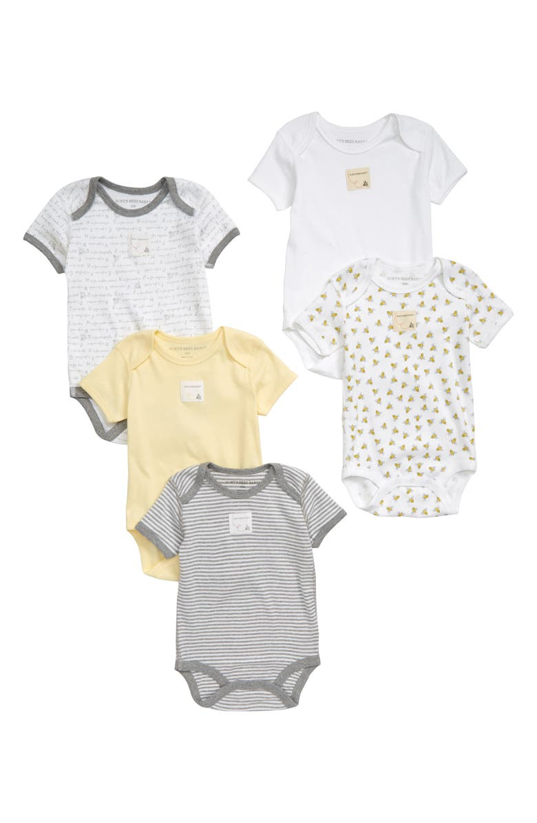 BURTS BEES Burt's Bees Baby 5-Pack Organic Cotton Bodysuits, Main, color, 700