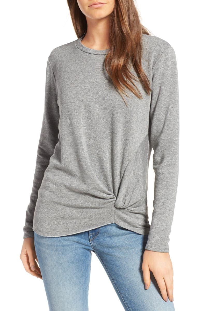 STATESIDE Front Twist Fleece Sweatshirt, Main, color, HEATHER GREY