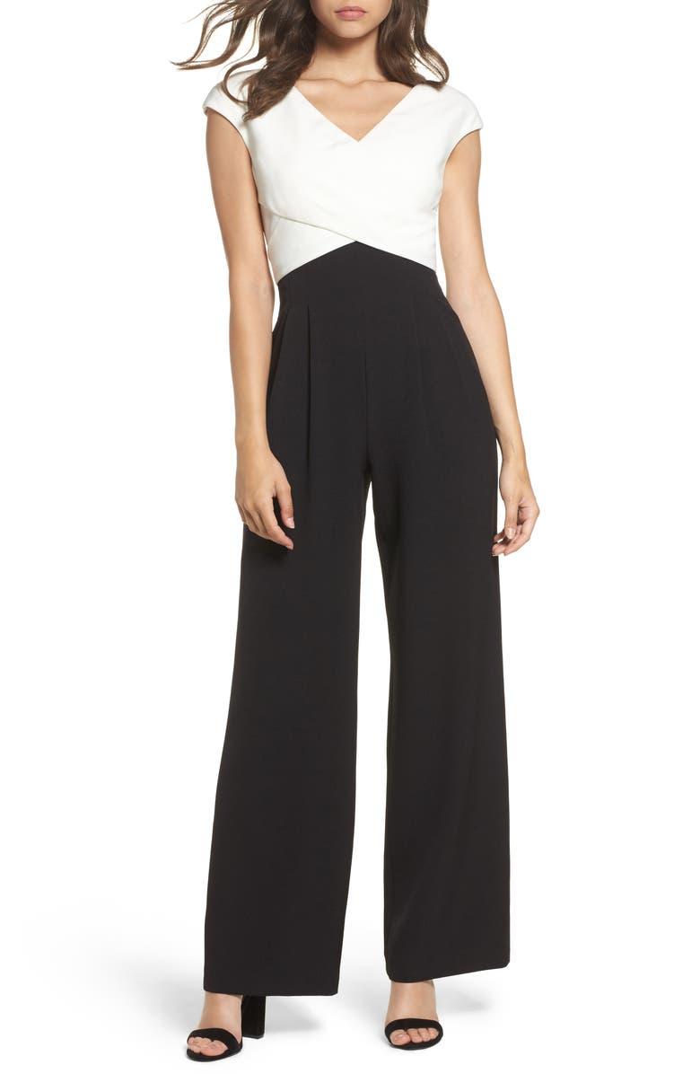 ELIZA J Cap Sleeve Jumpsuit, Main, color, BLACK
