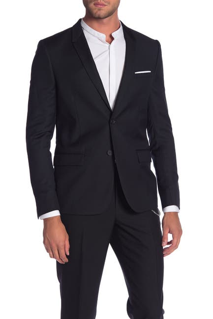 Image of The Kooples Dark Pique Two Button Notch Lapel Jacket