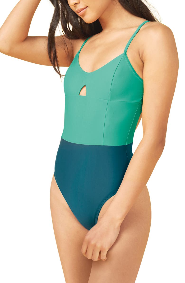 SUMMERSALT The Swan Dive One-Piece Swimsuit, Main, color, GREEN
