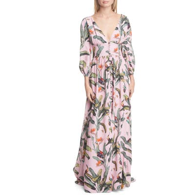 Patbo Tropical Print Gown, Pink
