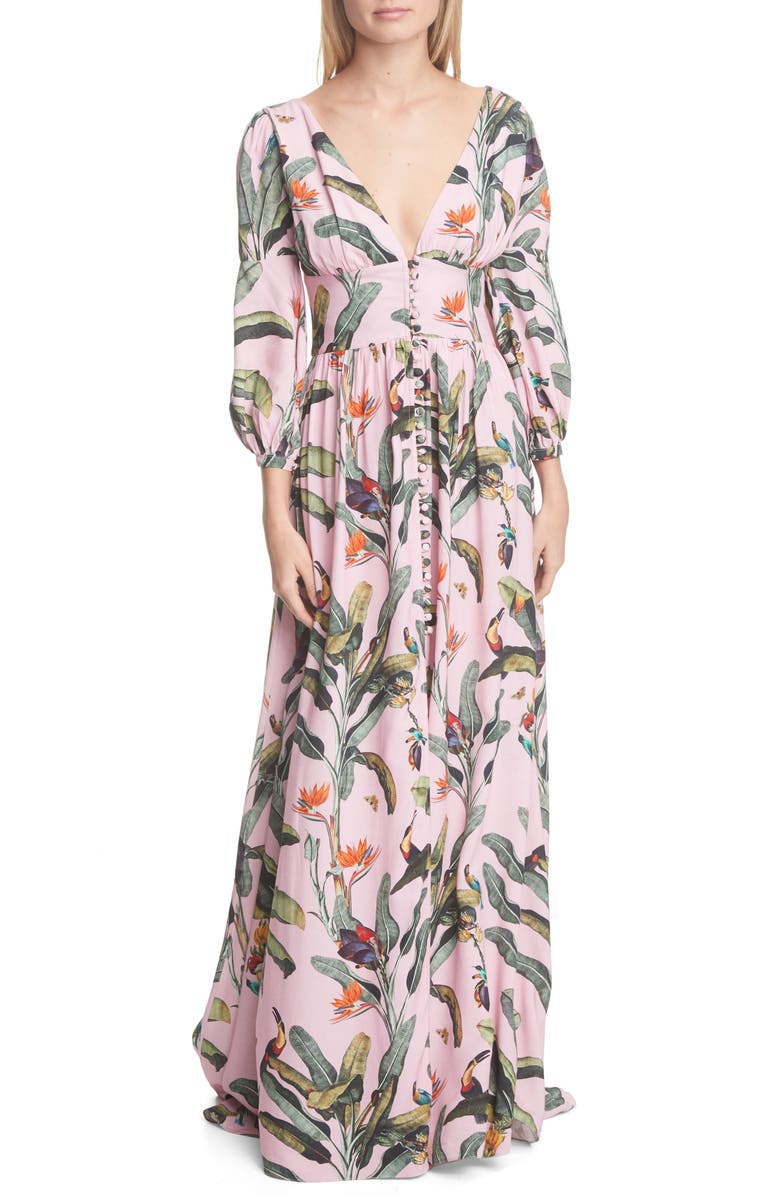 PATBO Tropical Print Gown, Main, color, POP PINK