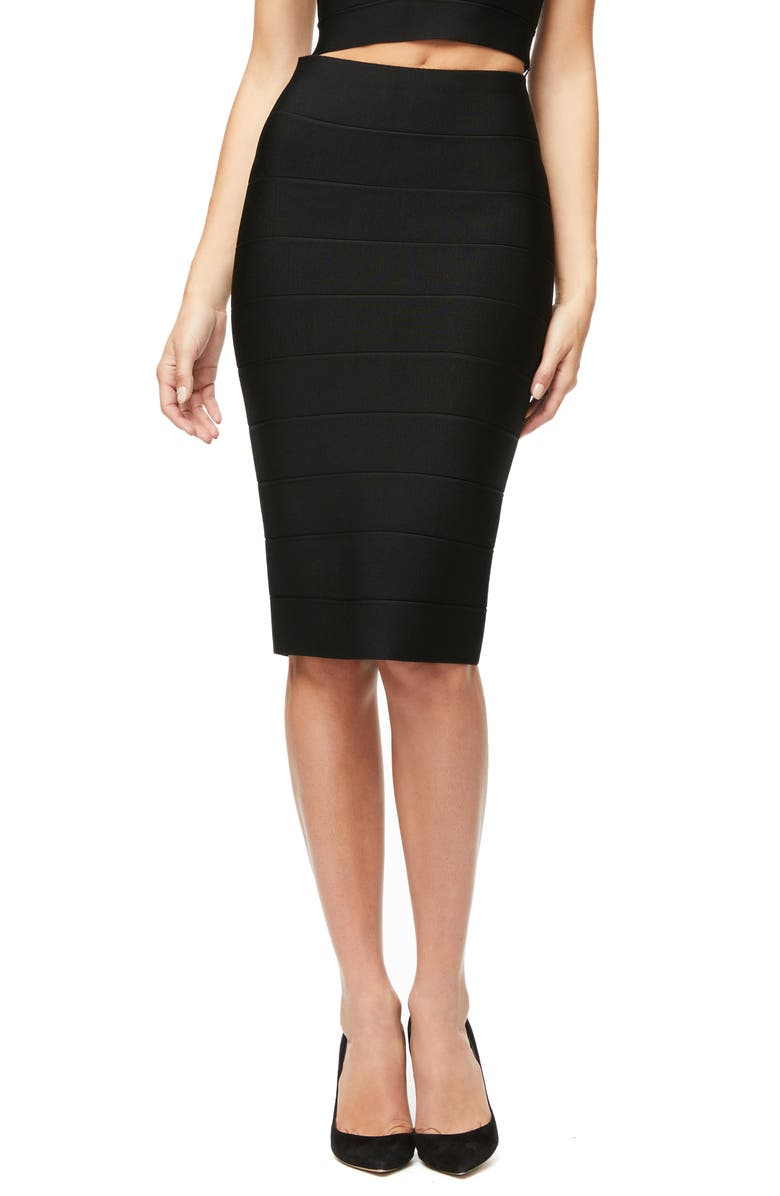 GOOD AMERICAN Bandage Pencil Skirt, Main, color, BLACK