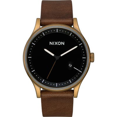 Nixon Station Leather Strap Watch, 41Mm