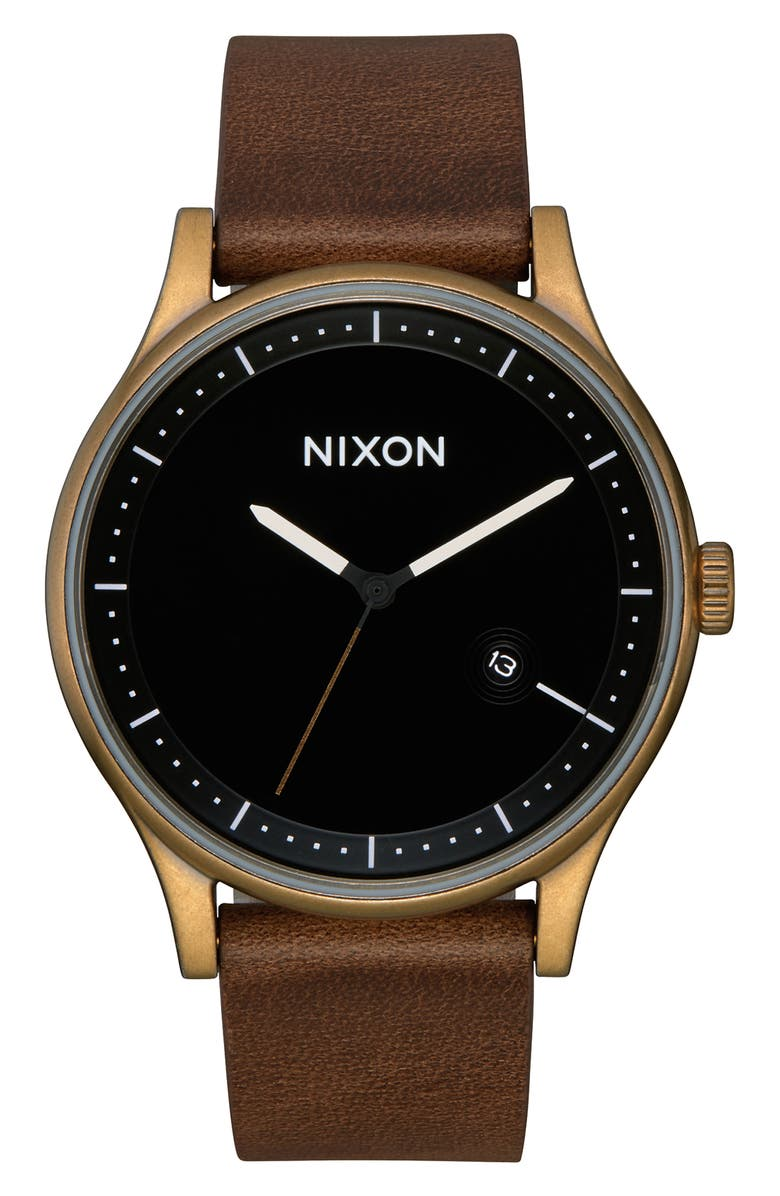 NIXON Station Leather Strap Watch, 41mm, Main, color, BROWN/ BLACK/ BRASS