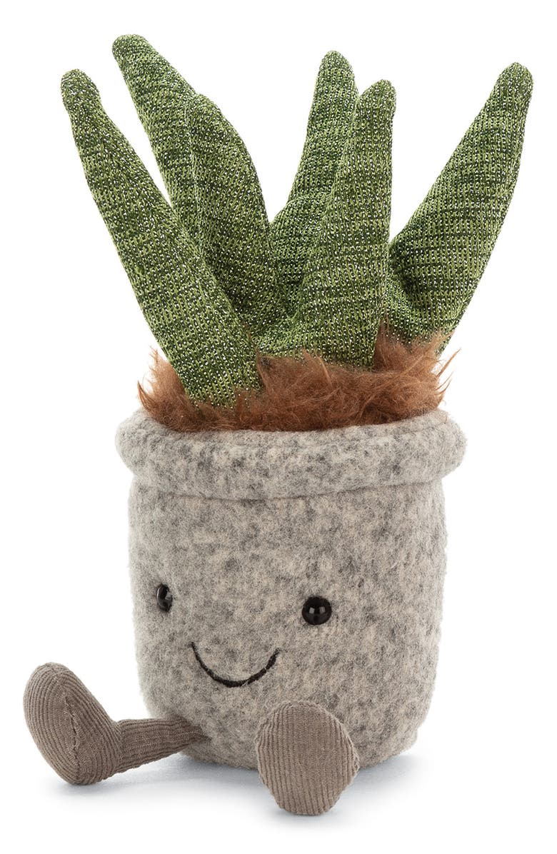 JELLYCAT Silly Succulent Aloe Plush Toy, Main, color, GREEN/ GREY