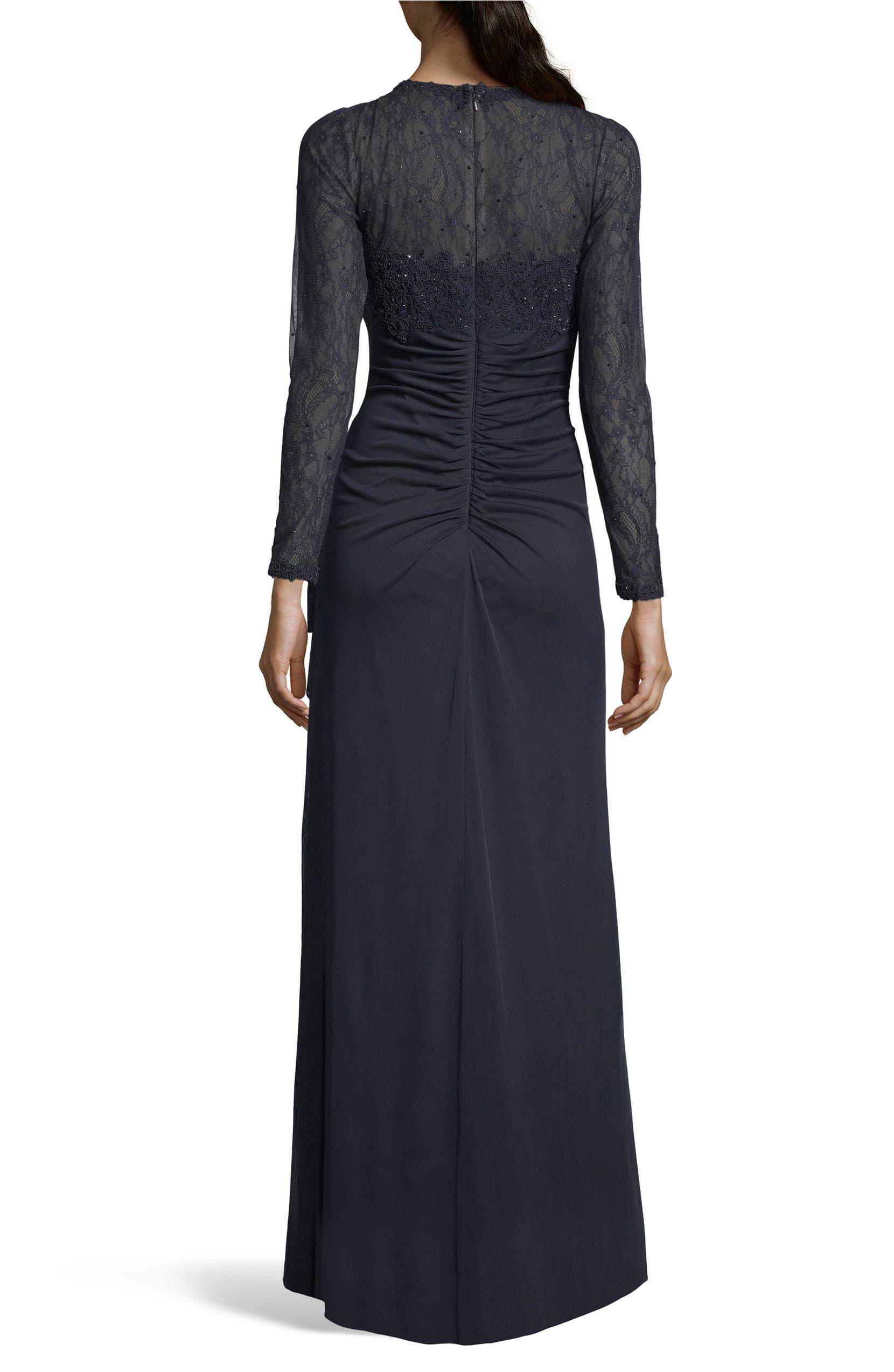 Xscape Lace Bodice Ruched Evening Dress (Regular & Plus Size ...