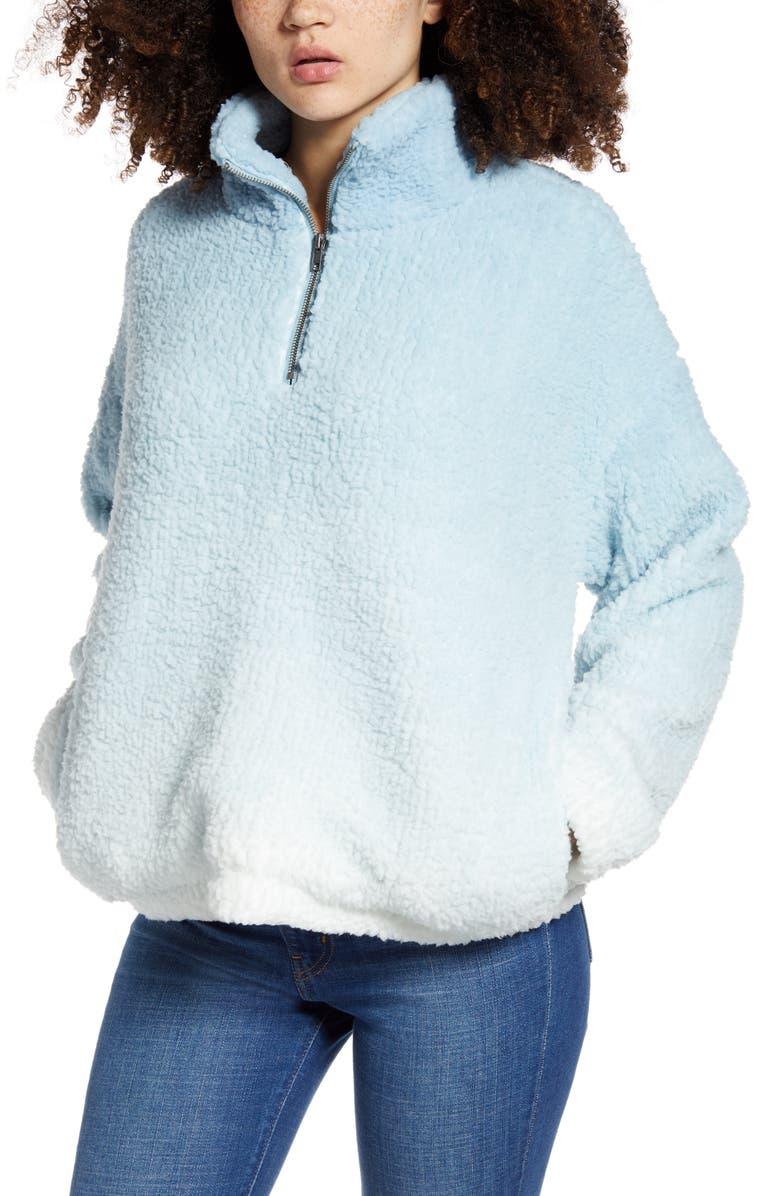 THREAD & SUPPLY Wubby Ombré Quarter Zip Fleece Pullover, Main, color, BLUE WHITE