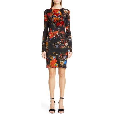 Fuzzi Butterfly Print Long Sleeve Dress, Black