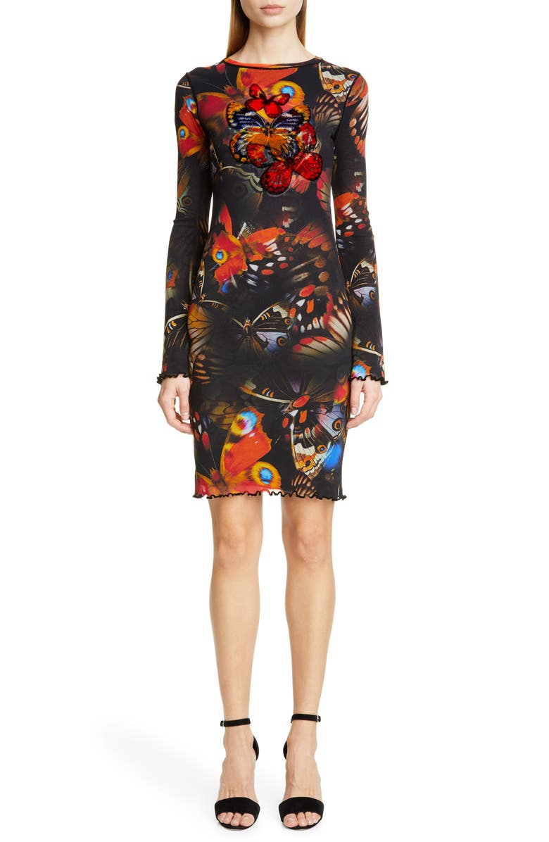 FUZZI Butterfly Print Long Sleeve Dress, Main, color, 001