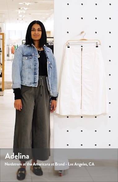 Rigid Denim Zip Midi Skirt, sales video thumbnail