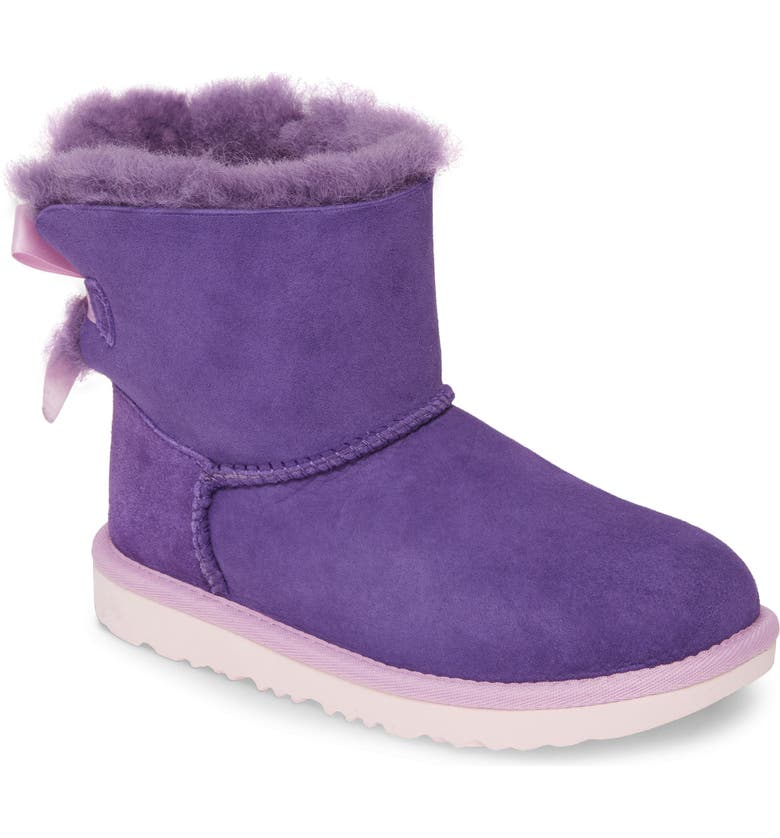 UGG<SUP>®</SUP> Mini Bailey Bow II Water Resistant Boot, Main, color, VIOLET BLOOM